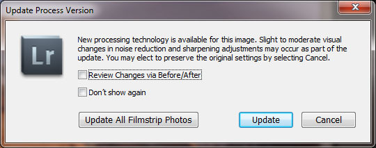 Lightroom Update Process Version Dialog Box