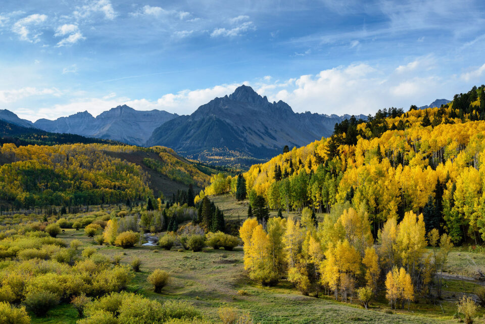 This sample photo from the Nikon D600 shows Mount Sneffels in Colorado with yellow aspen trees during fall.