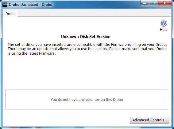 Drobo Unknown Disk Set Version
