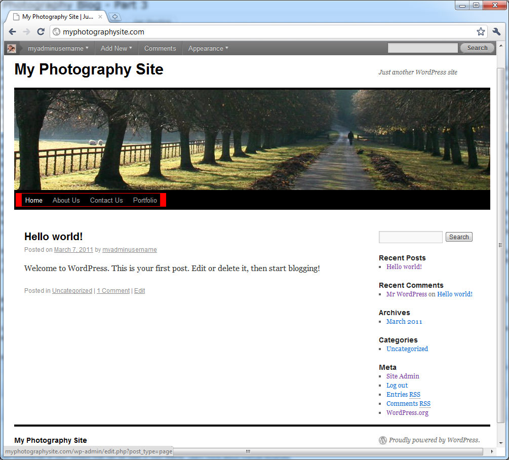 with blog page