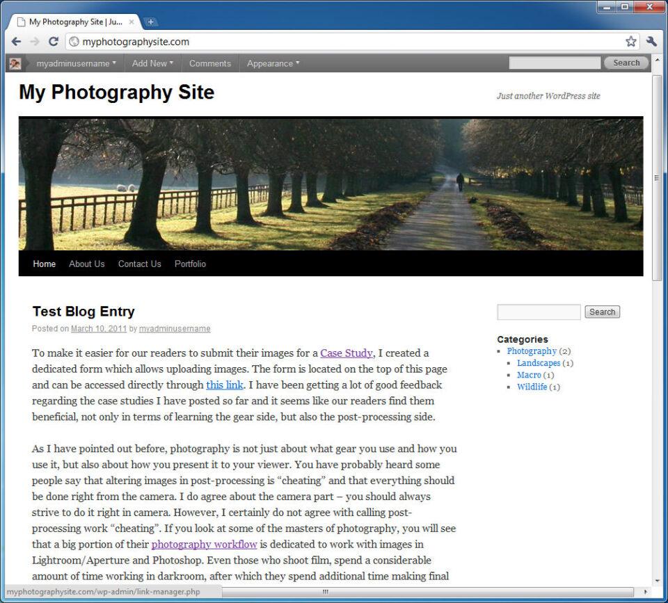 Main Page after Widget Change