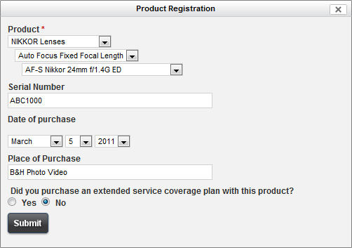 Nikon Product Registration