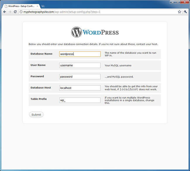 WordPress Database Setup 1