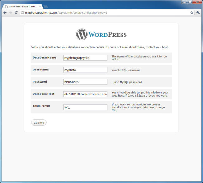 WordPress Database Setup 3