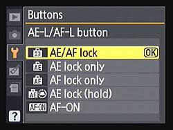 Nikon D3100 AE-L AF-L Buttons Menu