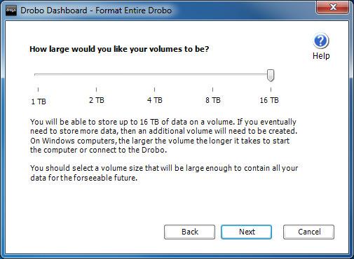 DroboPro - Volume Size