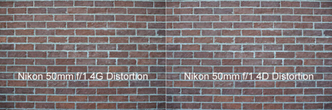 Nikon 50mm f/1.4G vs Nikon 50mm f/1.4D Distortion