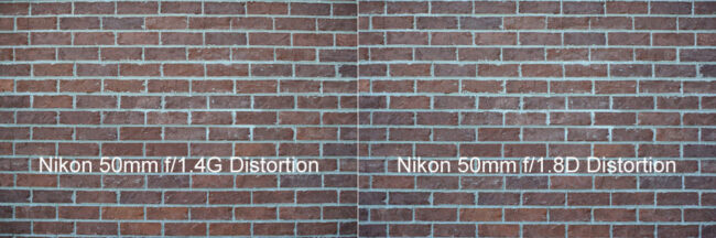 Nikon 50mm f/1.4G vs Nikon 50mm f/1.8D Distorion