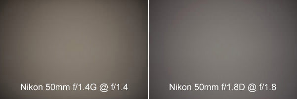 Nikon 50mm f/1.4G vs Nikon 50mm f/1.8D Vignetting