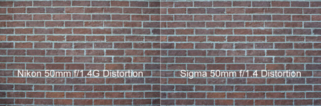 Nikon 50mm f/1.4G vs Sigma 50mm f/1.4 Distortion