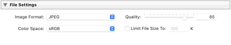 Lightroom Classic CC Export File Settings