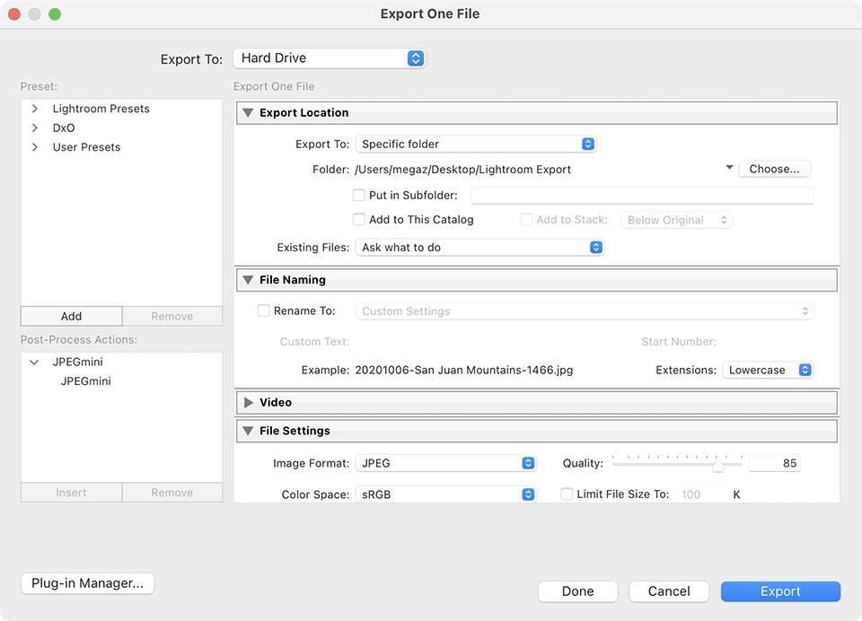 Lightroom Classic CC Export File