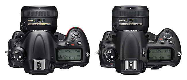 Nikon D4 vs D3s Top View
