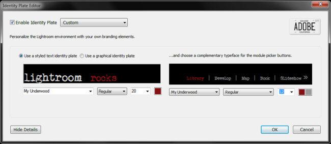 Identity Plate Editor
