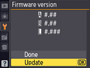 Nikon D4 Menu - Firmware Update