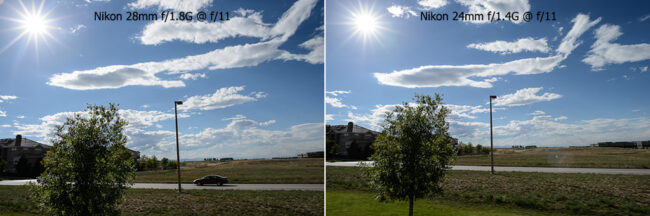 Nikon 28mm f/1.8G vs Nikon 24mm f/1.4G Ghosting and Flare
