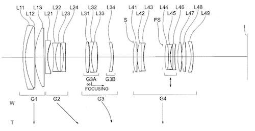 Nikon AF-S 70-200mm f4G VR Lens Patent