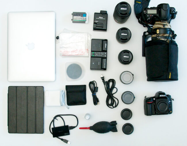 Contents of a packed Airport Commuter Backpack by ThinkTank