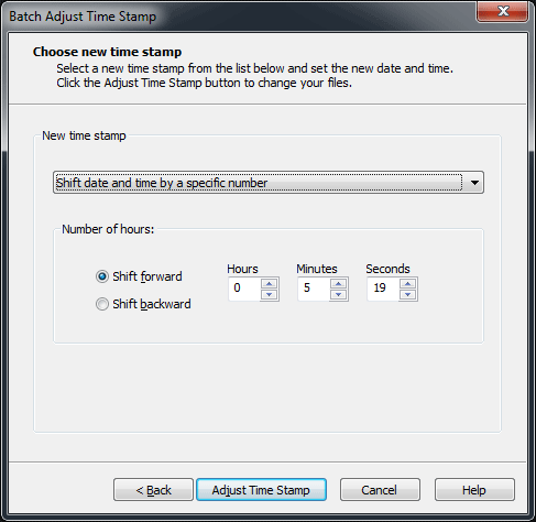 ACDSee Batch Adjust Time Stamp Process