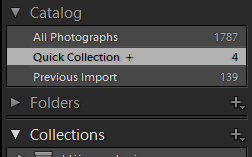 Adobe Photoshop Lightroom Inside Quick Collection