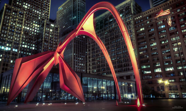Flamingo shaped abstract structure created by Alexander Calder