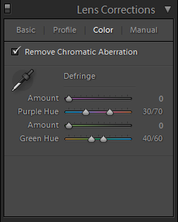 Lightroom Lens Corrections Color
