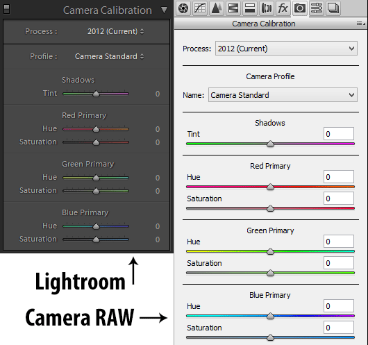 Lightroom vs Camera RAW Camera Calibration