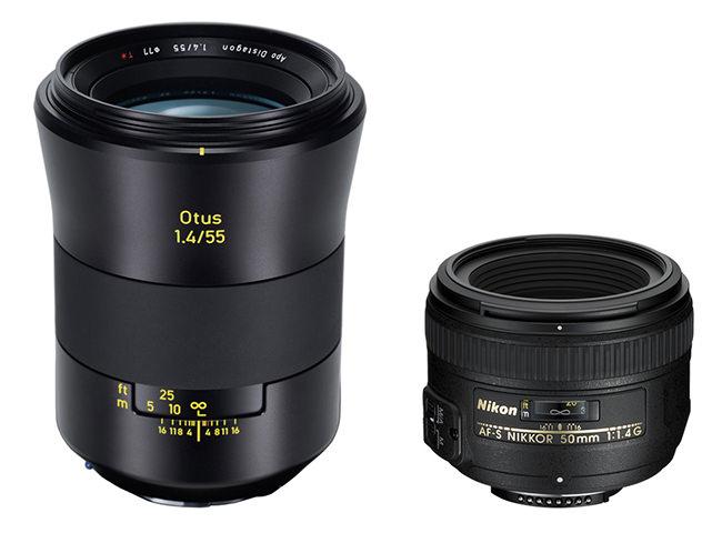 Zeiss Otus 55mm f1.4 vs Nikkor 50mm f1.4 Size Comparison