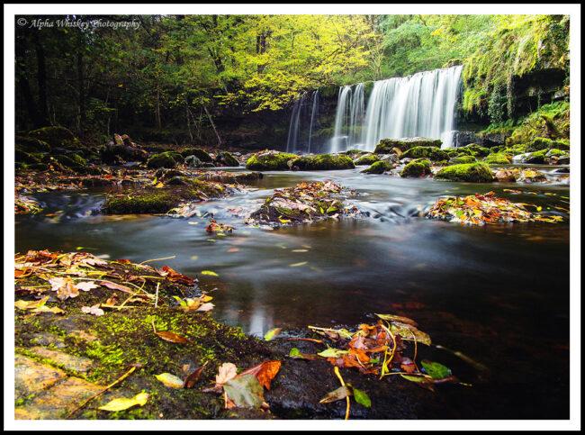 Panasonic 14mm F/1.7, ISO 200, 20 secs. Waterfall Country, Wales.