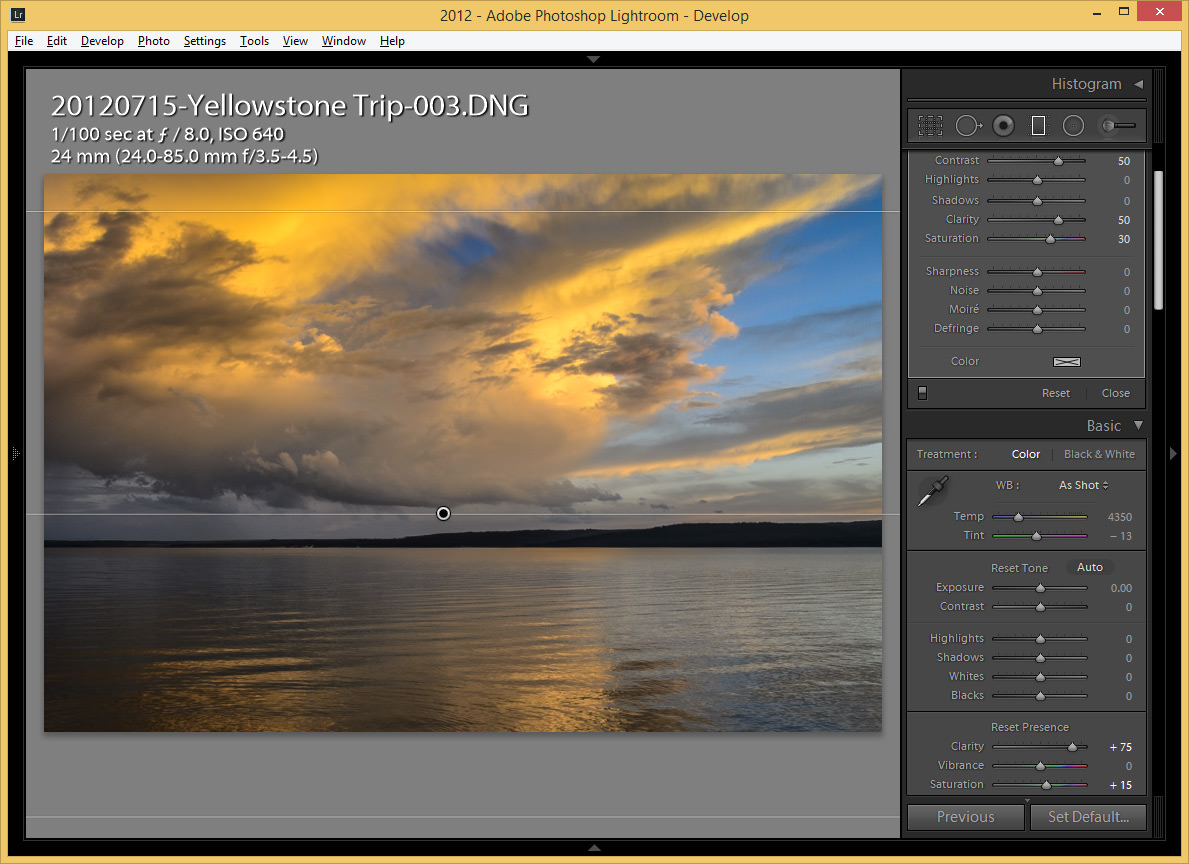how to add a color filter in lightroom