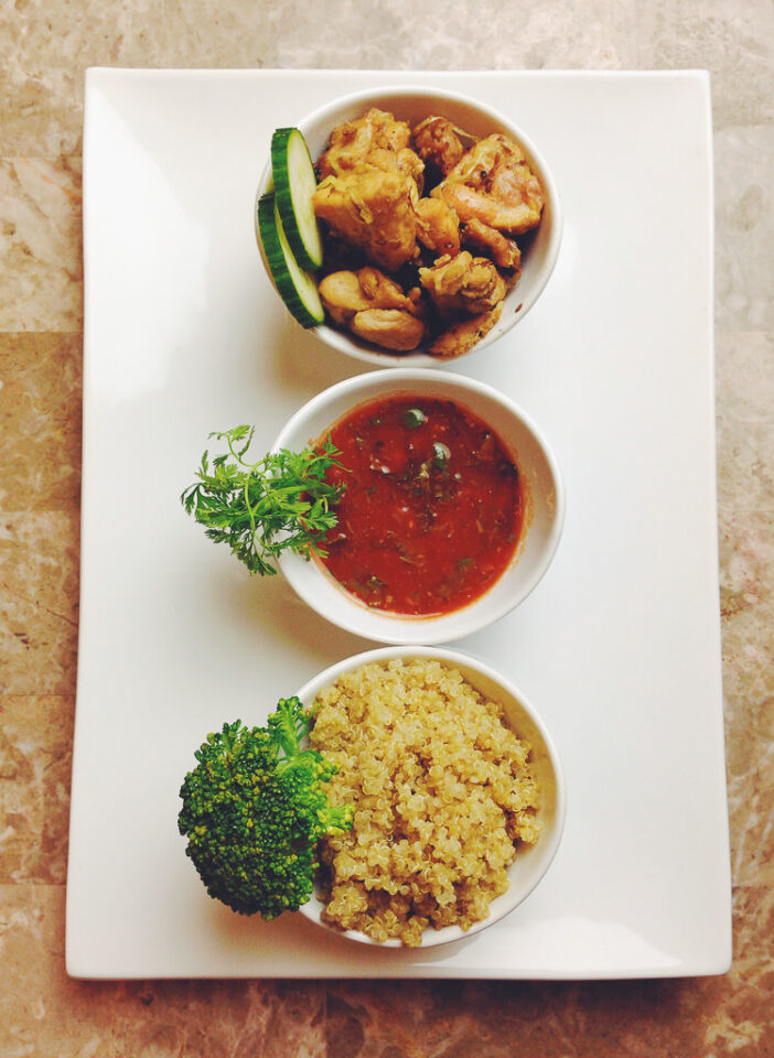 Chicken Tabaka with Quinoa and Garlic Tomato Sauce