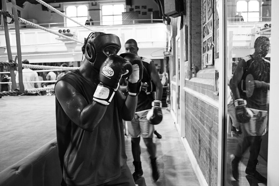 Mirror boxing.