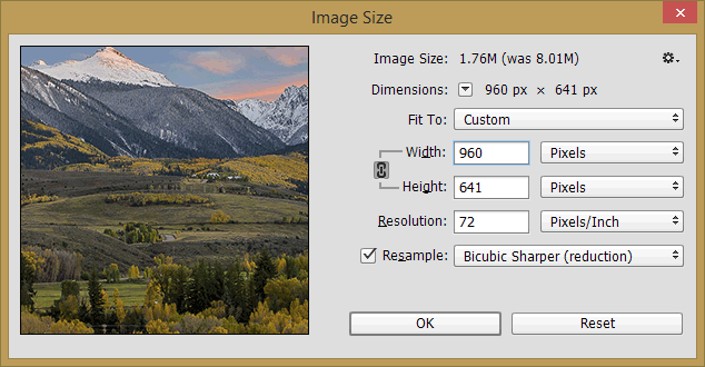 """Once you resize the image, you can save it. When the """"JPEG Options ..."""