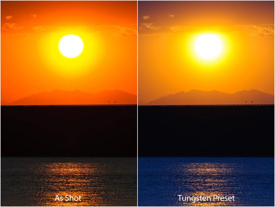 As Shot vs Tungsten Preset