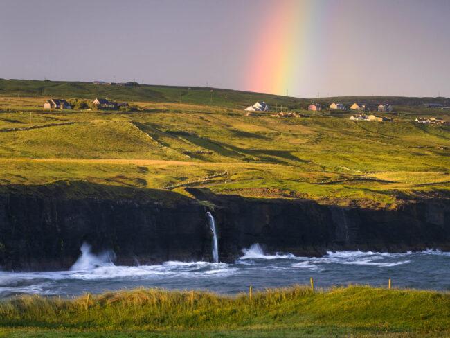 Ireland-Waterfall-Rainbow-Sunrise