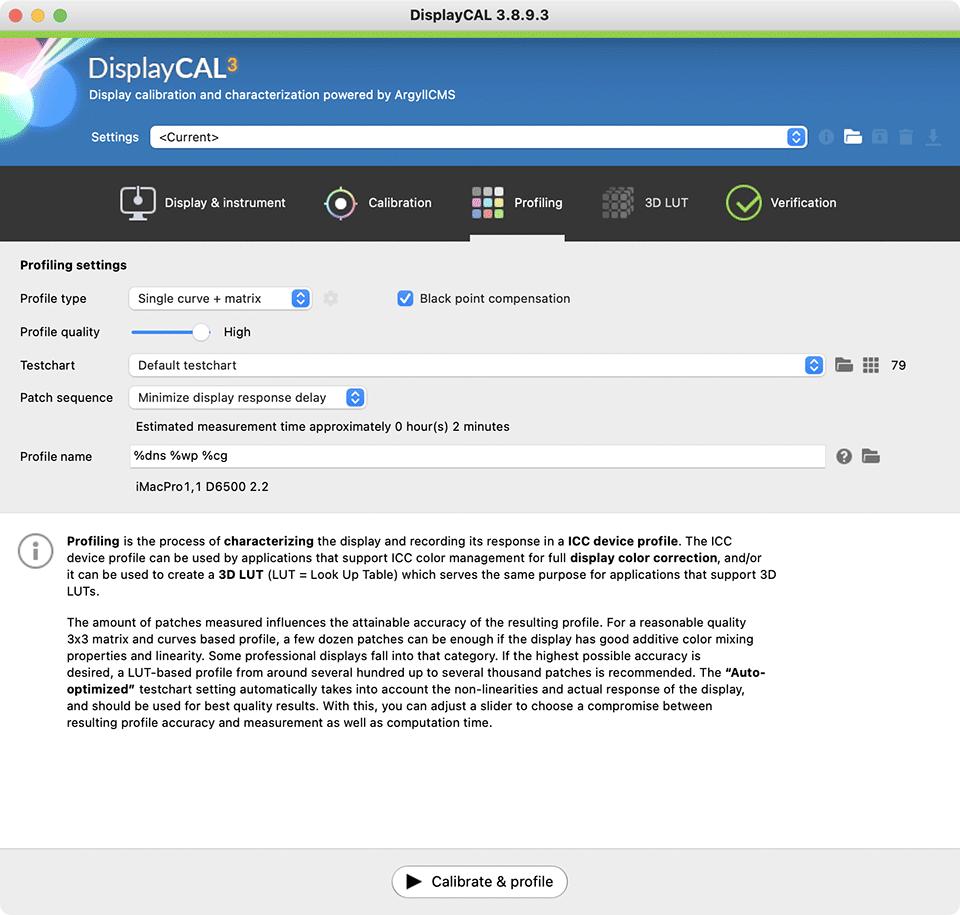 DisplayCAL Profiling Tab