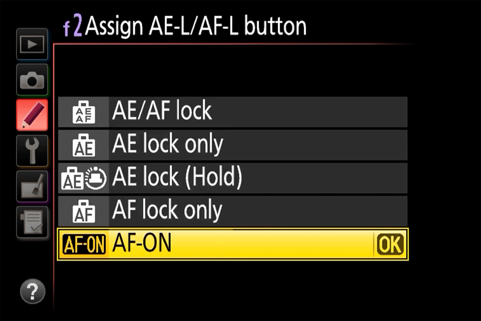 Nikon Assign AE-L AF-L Button