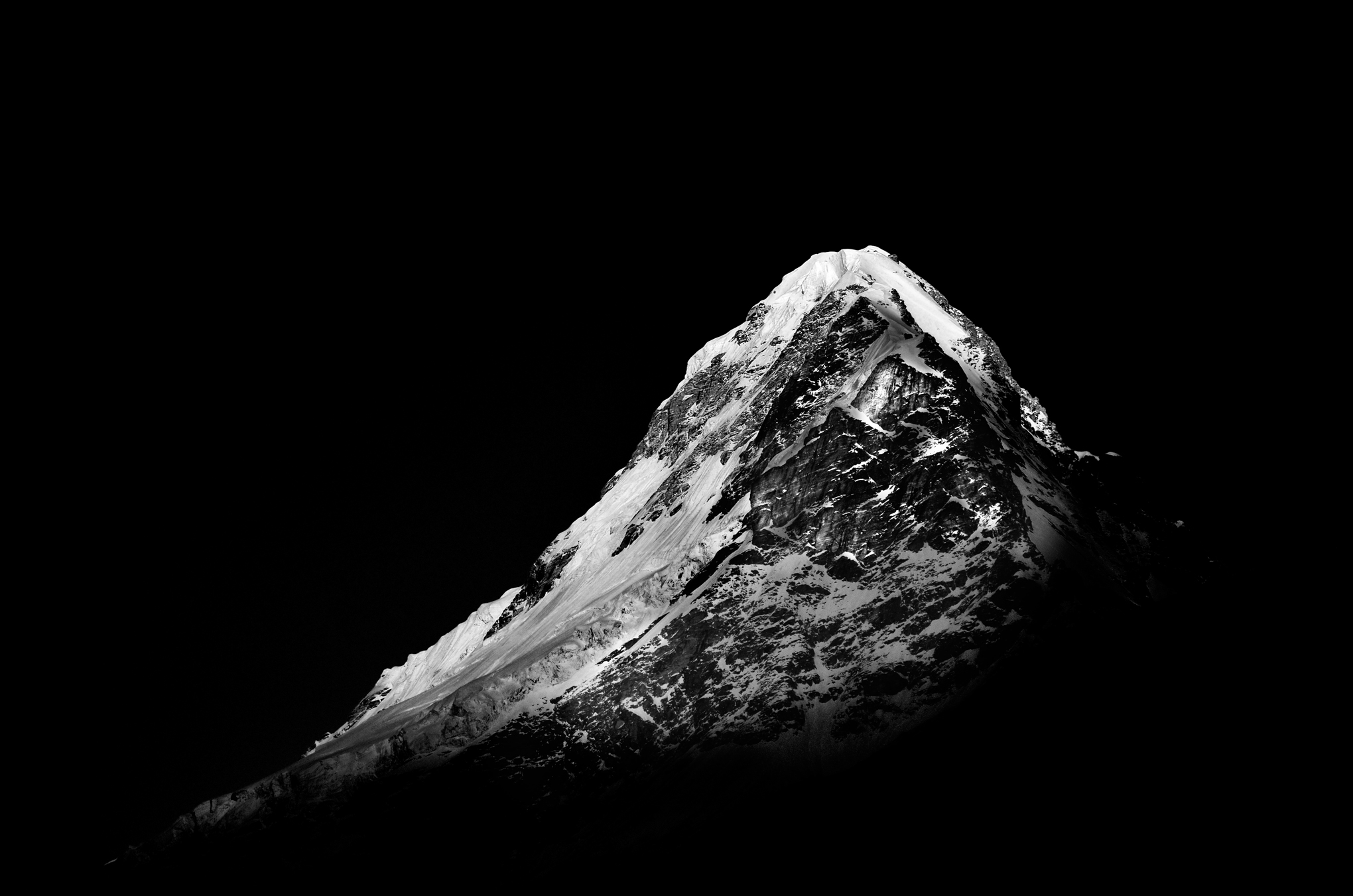 Black and white mountaintop converted in Photoshop