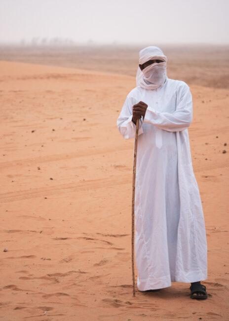 Nikon D780 Camel Herder in the Fog, Liwa Desert, Abu Dhabi, UAE