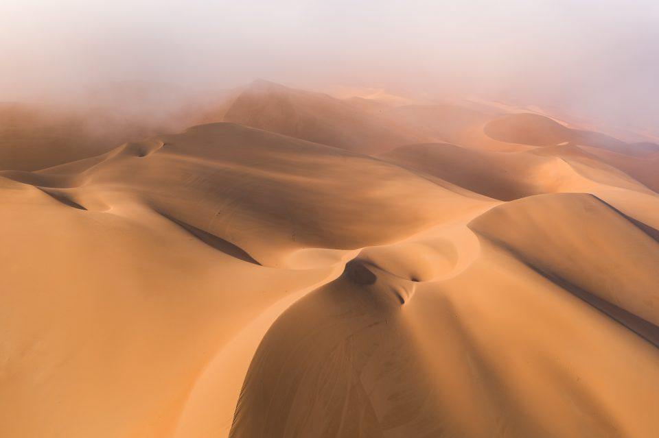 Liwa Desert Drone Photo on Foggy Morning, Abstract 1