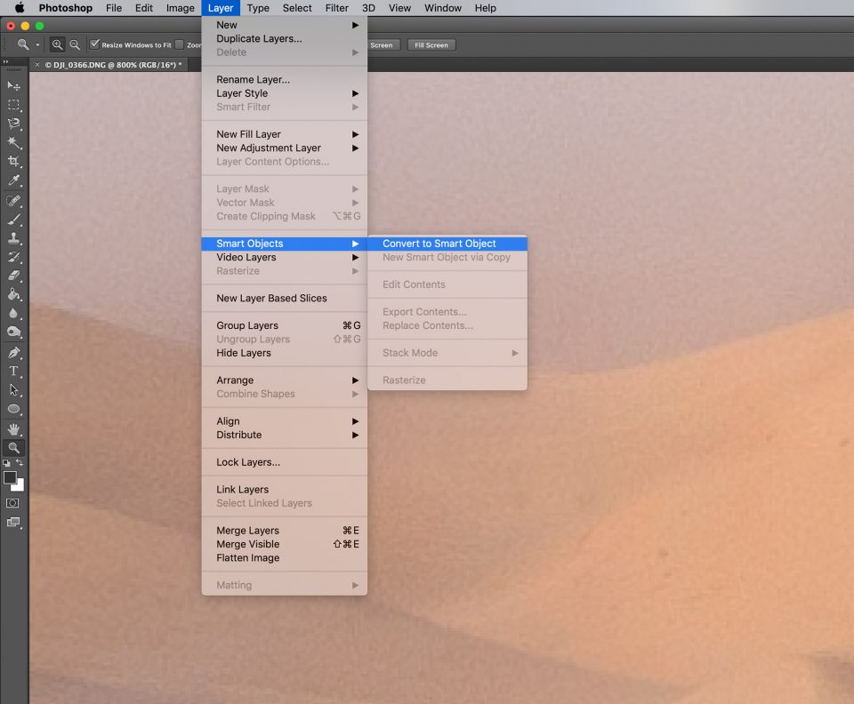 Convert Layers to Smart Object in Photoshop