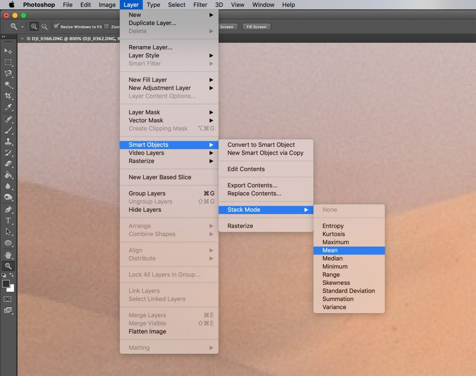 Mean Blending Mode Photoshop Smart Object