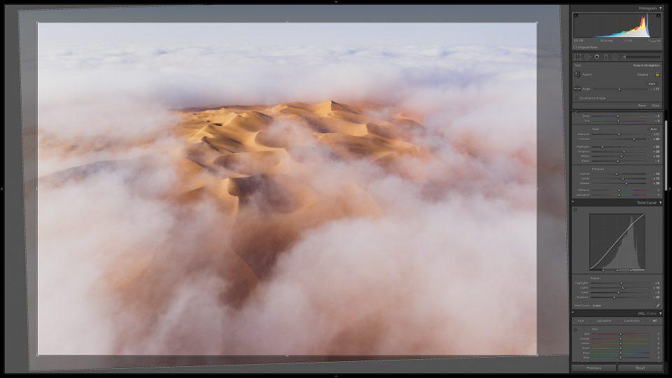 Cropping in Lightroom Screenshot Liwa Desert