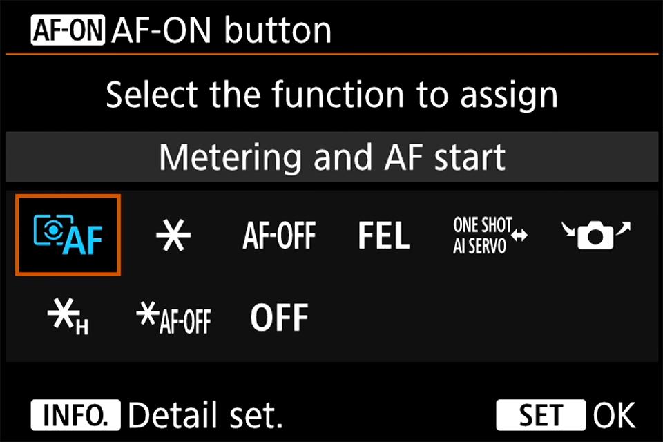 Canon AF-ON Button Menu