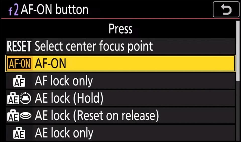Nikon AF-ON Button Menu