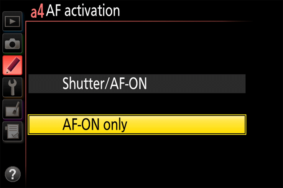 Nikon Menu AF Activation