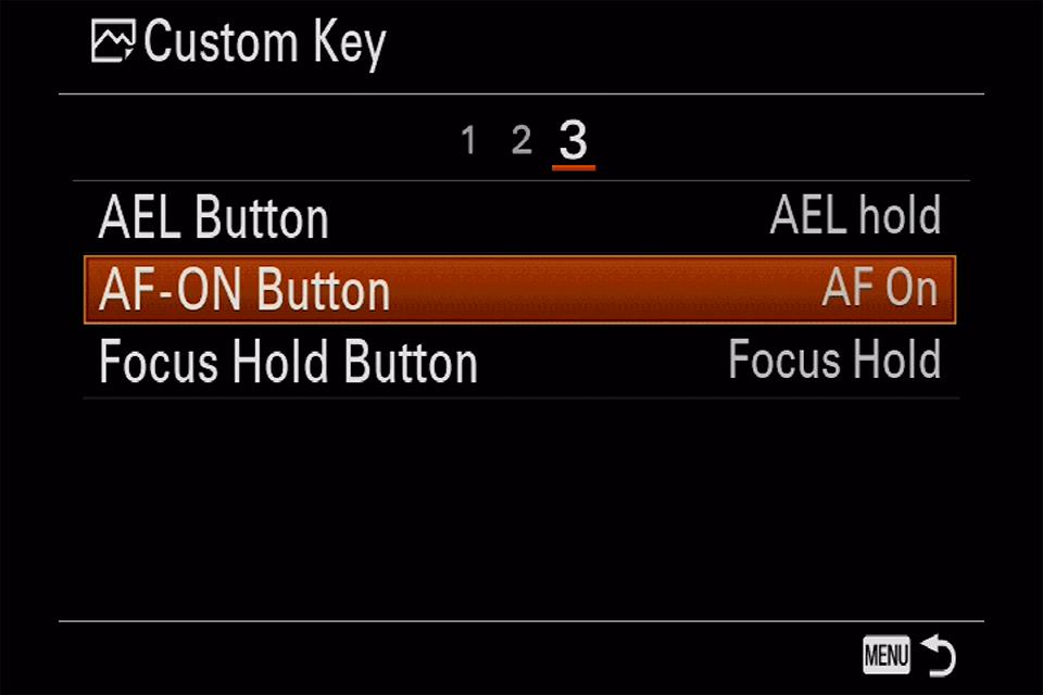 Sony AF-ON Button Menu