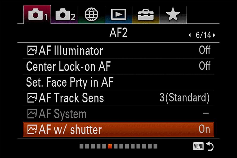 Sony AF with Shutter Menu