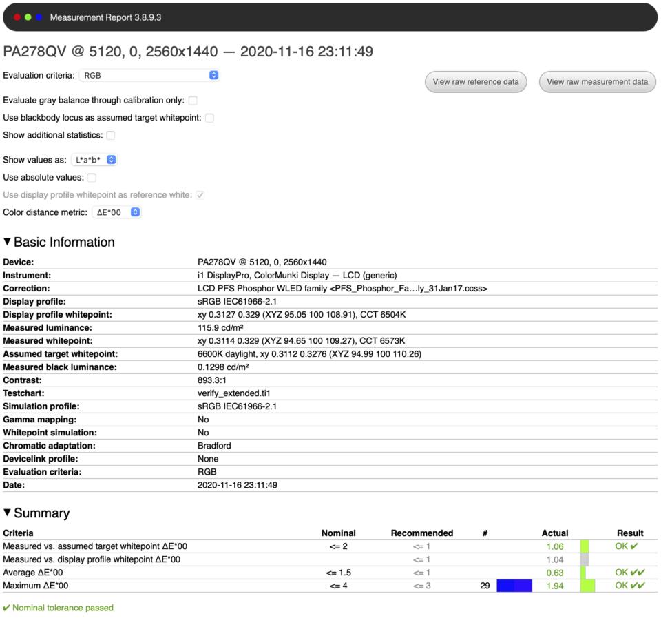 ASUS ProArt PA278QV Measurement Report Factory