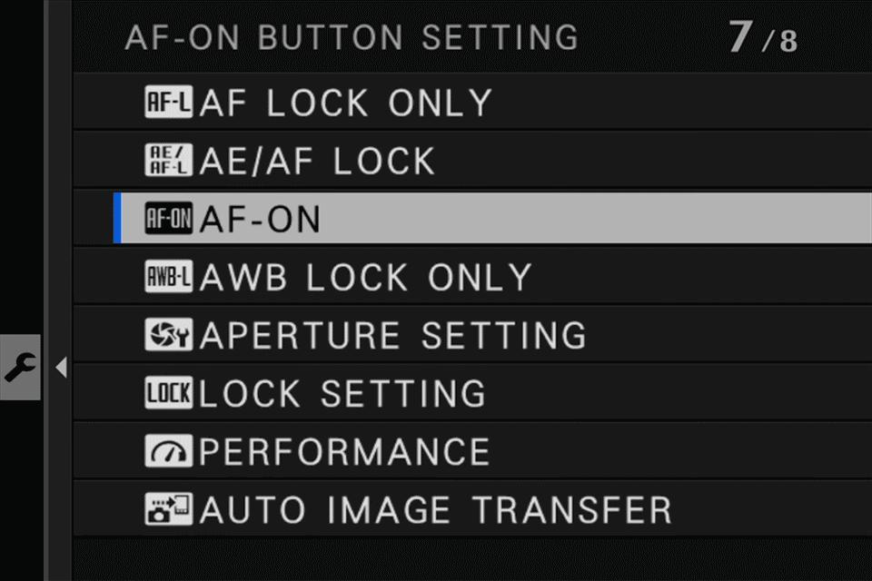 Fuji AF-ON Button Setting